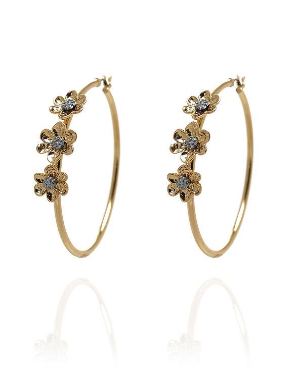 Gold Flower Hoop Earring, Gold, hi-res