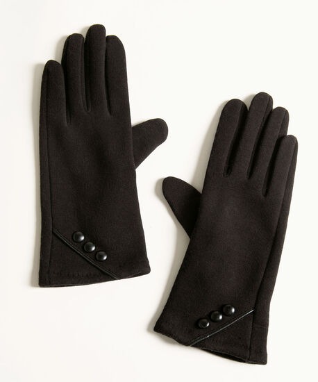 Black Velvet Button Trim Gloves, Black, hi-res