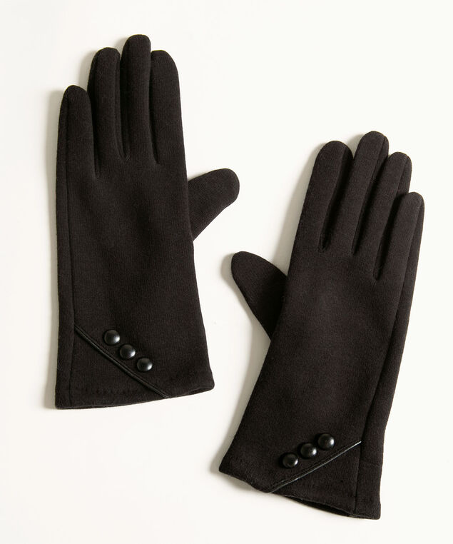Black Velvet Button Trim Gloves, Black, hi-res
