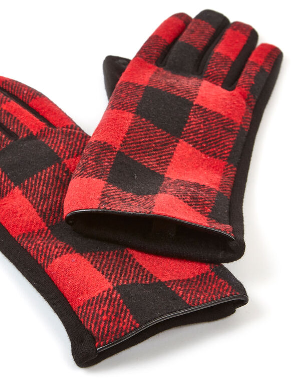 Checkered Print Text Gloves, Red, hi-res