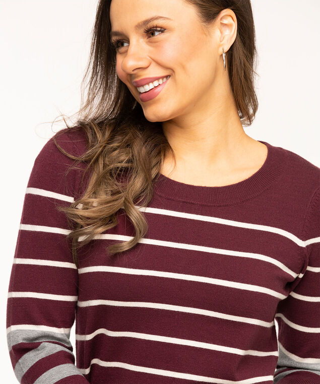 Wine Stripe Pullover Sweater, Wine/Grey/Ivory Stripe