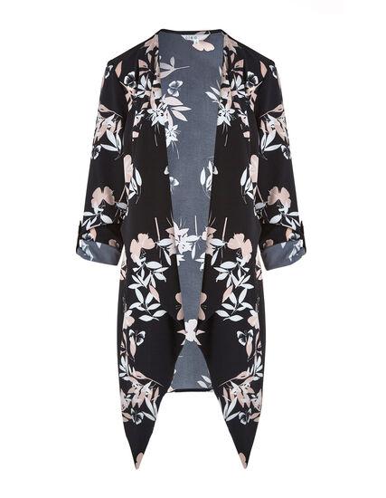 Black Floral Draped Roll Sleeve Blazer, Black, hi-res