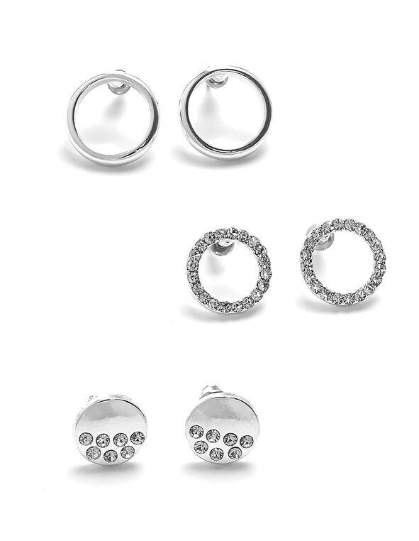 Silver Circular Earring Trio, Silver, hi-res