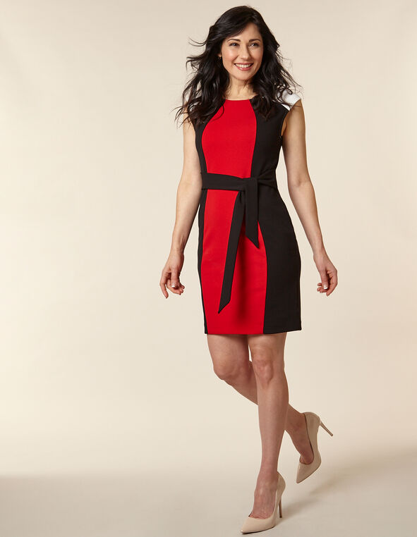Poppy Crepe Sheath Dress, Popy/Red, hi-res