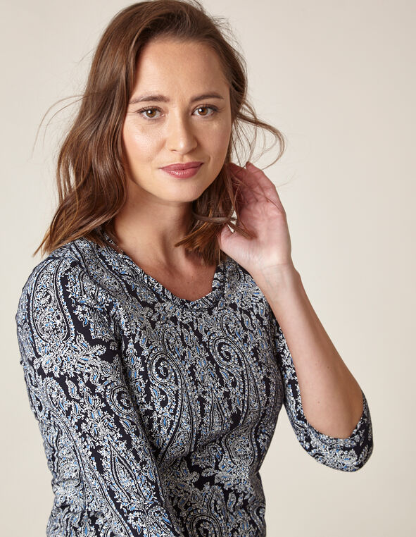 Navy Paisley Twisted Neckline Tee, Navy, hi-res