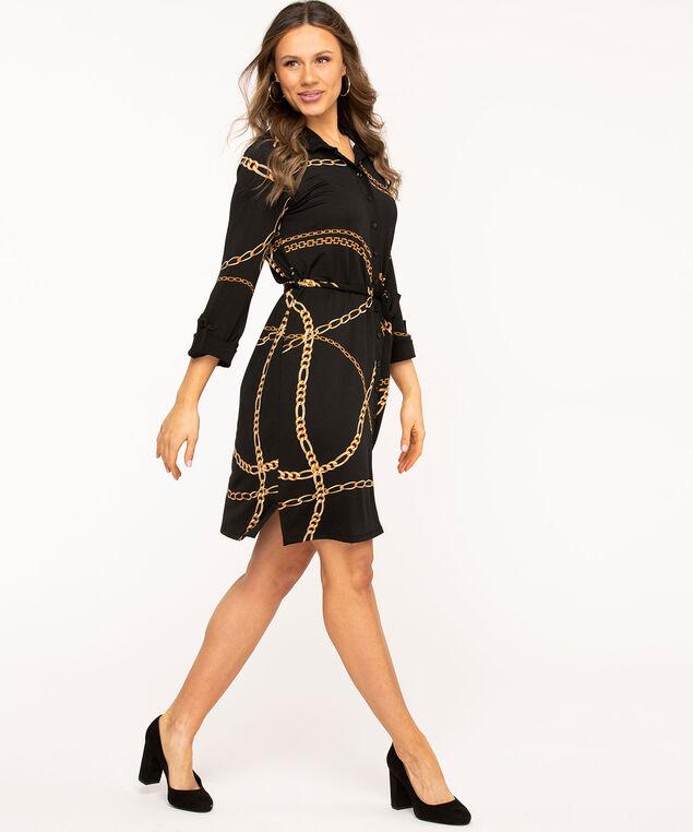 Black Chain Print Shirt Dress, Black/Gold