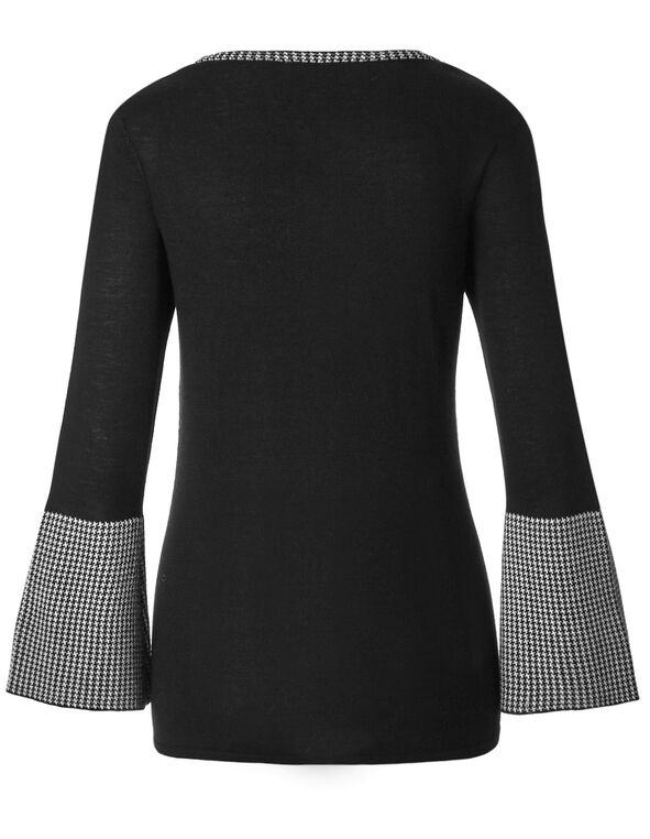 Black Contrast Detail Sweater, Black, hi-res