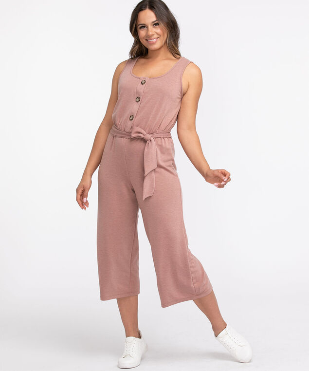 French Terry Cropped Jumpsuit, Soft Pink