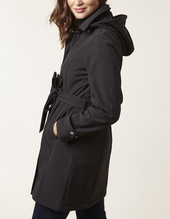 Black Softshell Trench Coat, Black, hi-res