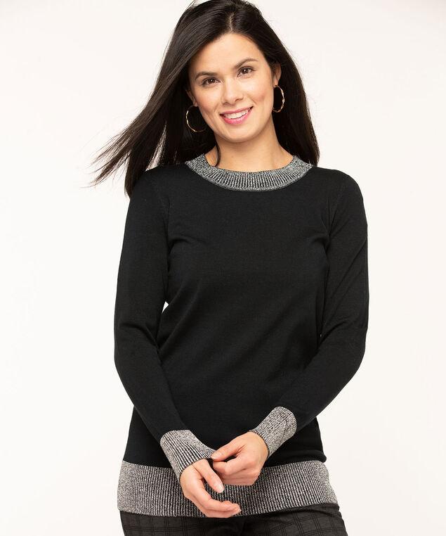 Black Metallic Trim Pullover Sweater, Black/Silver