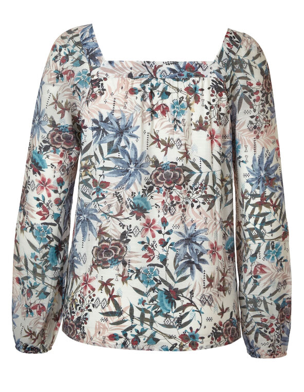Ivory Floral Square Neck Blouse, Ivory, hi-res