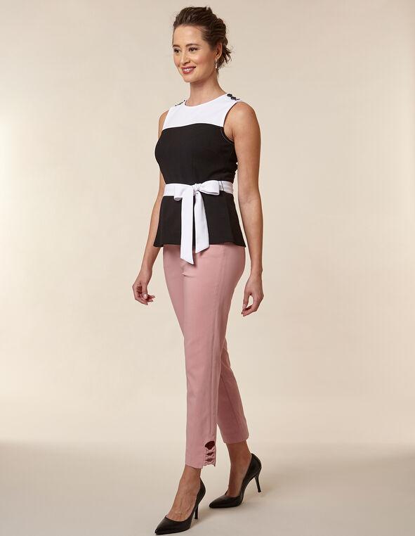 Black Colour Block Waist Tie Top, White/Black, hi-res