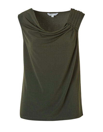 Green Crepe Detail Top, Green, hi-res