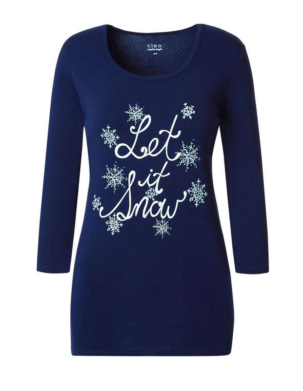 Let It Snow Cotton Pyjama Set, Ink Blue, hi-res