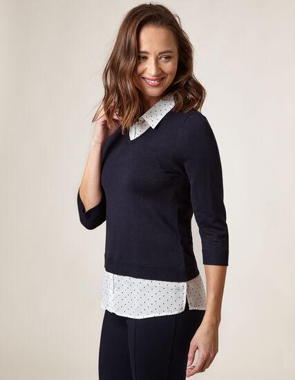 Navy Polka Dot Fooler Sweater, Navy, hi-res