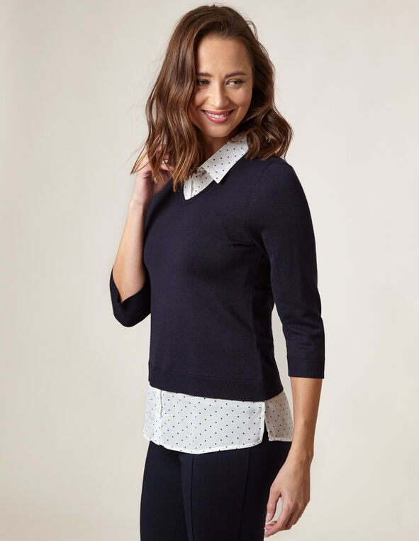Navy Polka Dot Fooler Sweater, Navy, hi-res