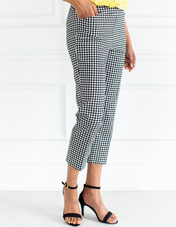 Black Gingham Pull On Capri Pant, Black, hi-res