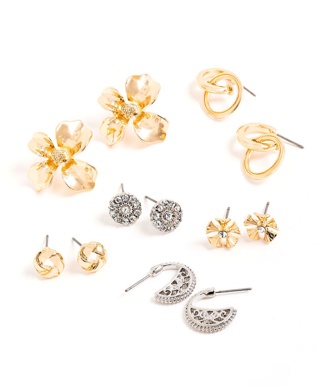 Mixed Stud & Drop Earring 6-Pack, Gold/Silver