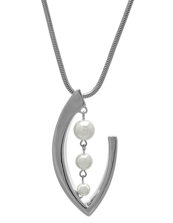 Long Silver Pearl Pendant Necklace, Pearl, hi-res