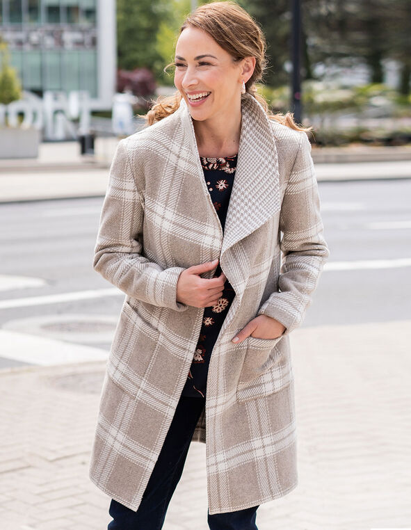 Camel Wool Blend Plaid Coat, Camel, hi-res