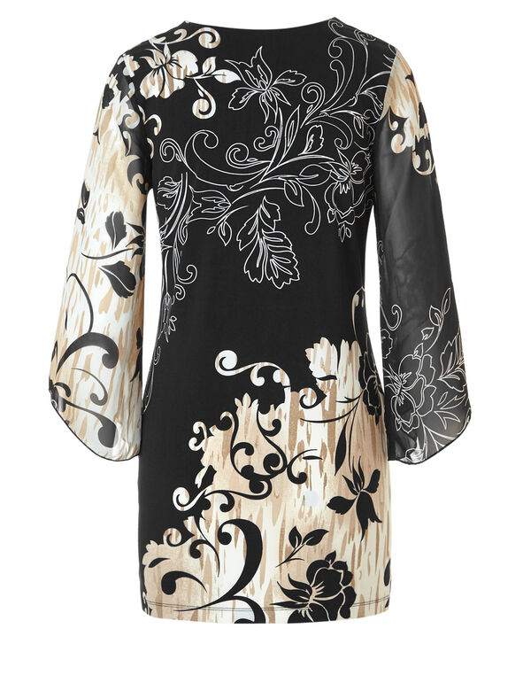 Neutral Paisley Print Tunic, Black/Ivory/Brown, hi-res