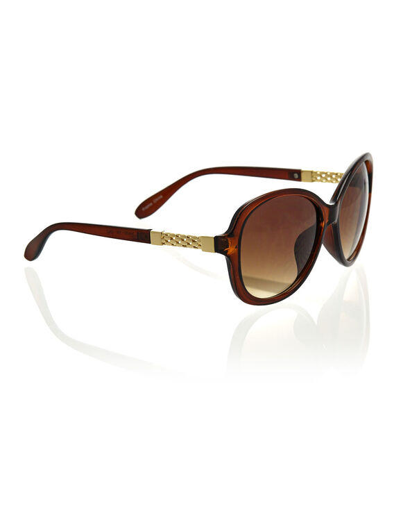 Brown Large Frame Sunglasses, Brown, hi-res
