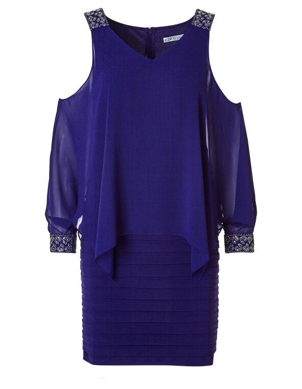 Cobalt Jeweled Shutter Sheath Dress, Cobalt, hi-res