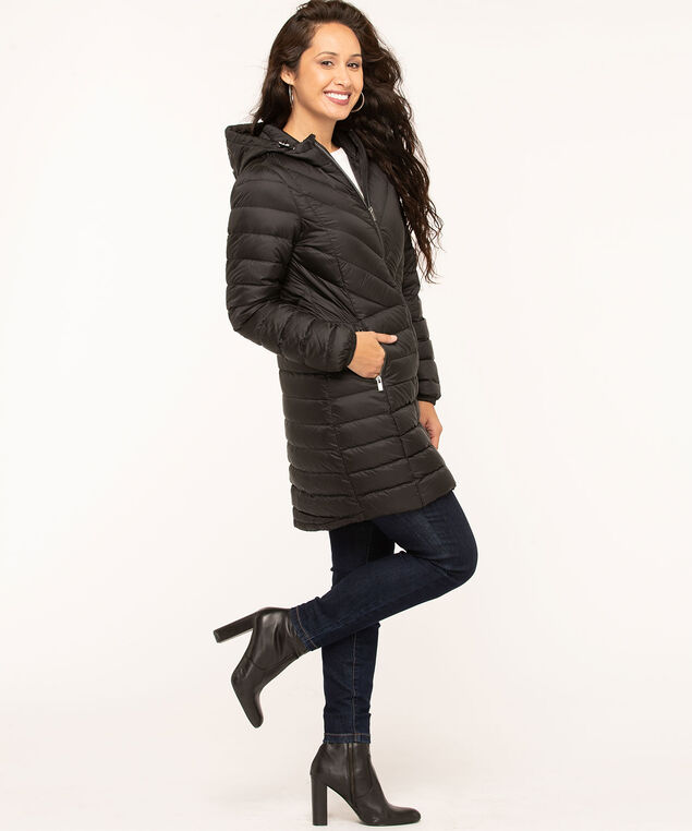 Black Hooded Packable Puffer, Black