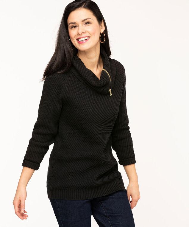 Black Zipper Cowl Neck Sweater, Black
