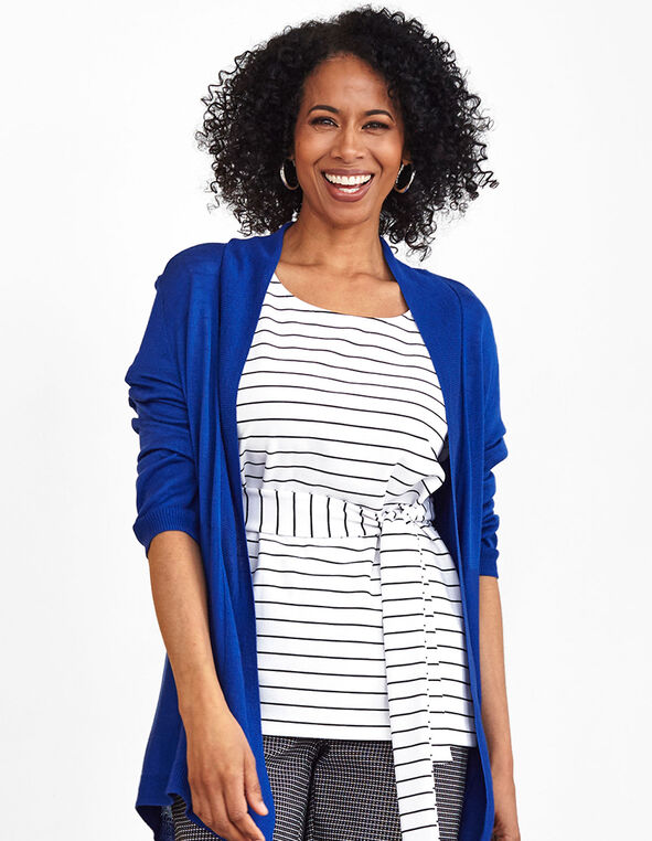 White Striped Front Tie Top, White, hi-res