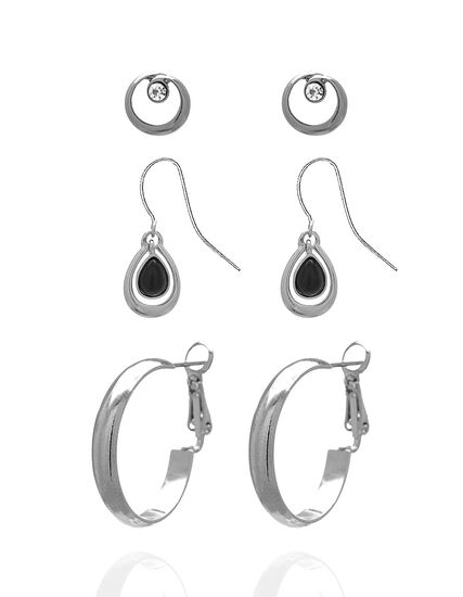 Silver Earring Trio Set, Silver, hi-res