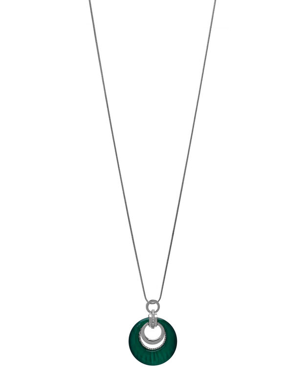 Emerald Cat Eye Long Necklace, Green, hi-res