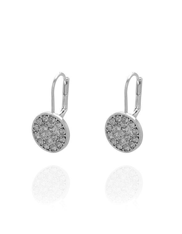 Silver Genuine Crystal Earring, Silver, hi-res