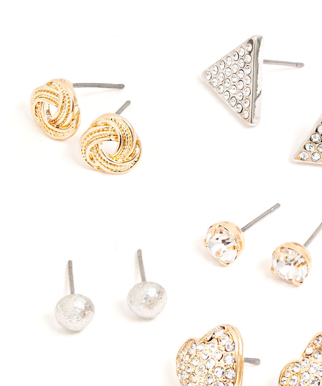 Geometric Earring 6-Pack, Gold/Silver