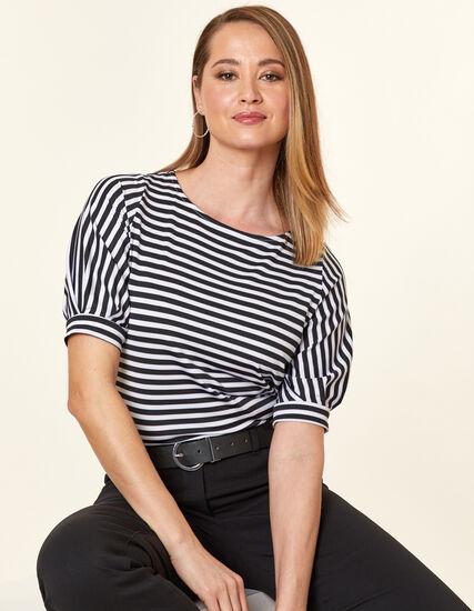 Black Striped Top, Black, hi-res
