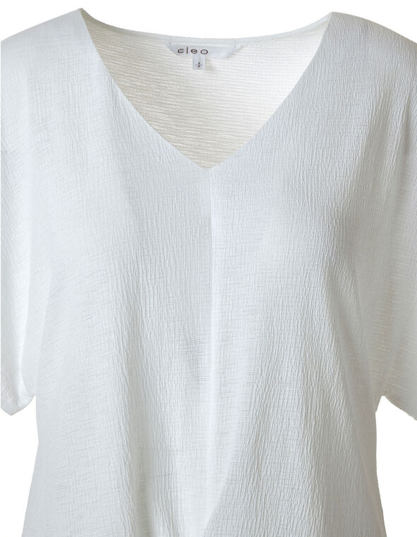 White Tie Front Blouse, White, hi-res