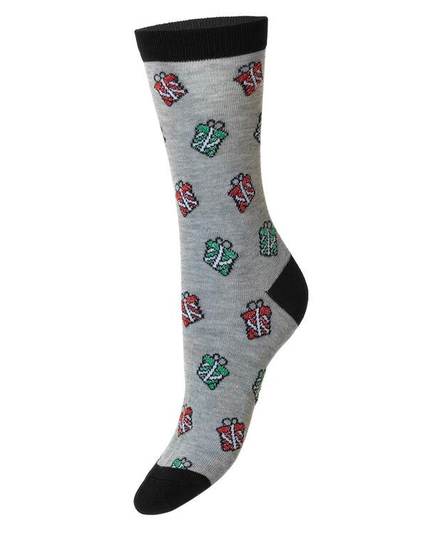 Grey Christmas Gift Lurex Crew Sock, Grey, hi-res