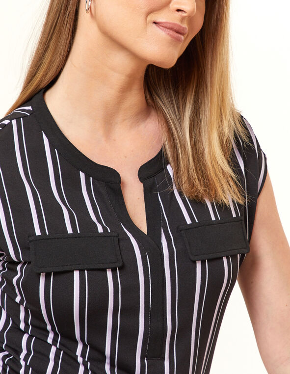 Black Stripe Crepe Top, Black, hi-res