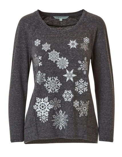 Grey Snowflake French Terry Top, Grey, hi-res