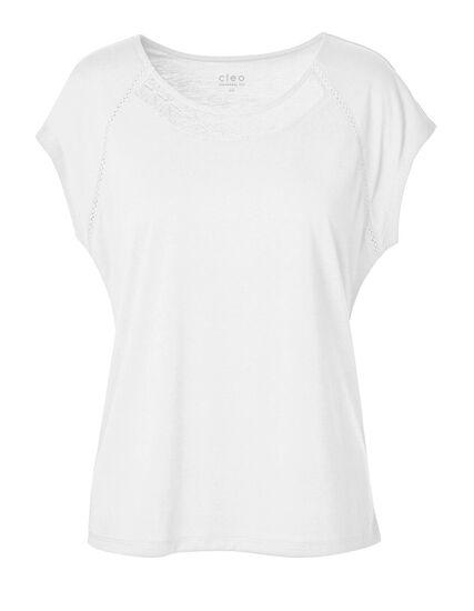 Ivory Lace Detail Cap Sleeve Tee, Ivory, hi-res
