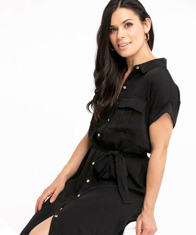 Black Tie Waist Safari Dress, Black