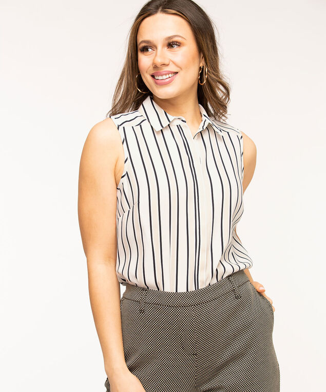 Sleeveless Collared Button Front Blouse, Ivory/Black Stripe