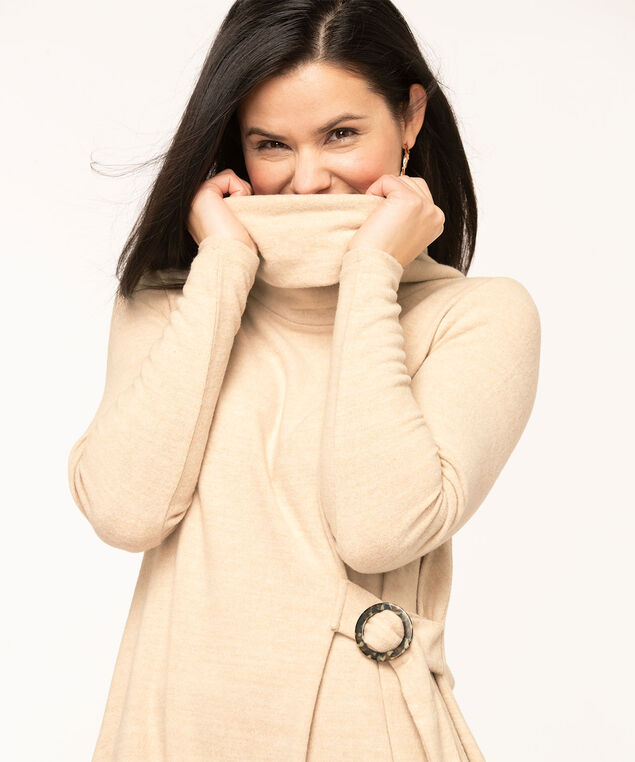 Oatmeal Cowl Neck Hacchi Tunic, Oatmeal Mix
