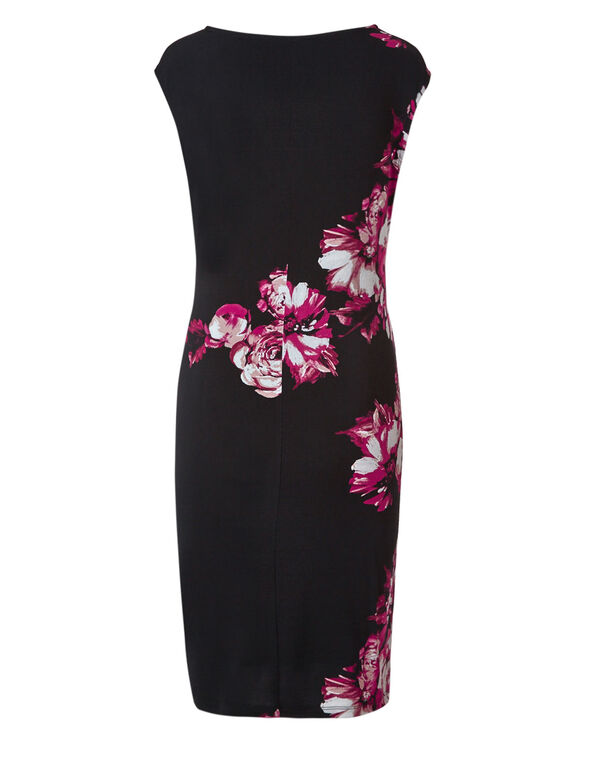 Black Floral Wrap Dress, Black/Pink, hi-res