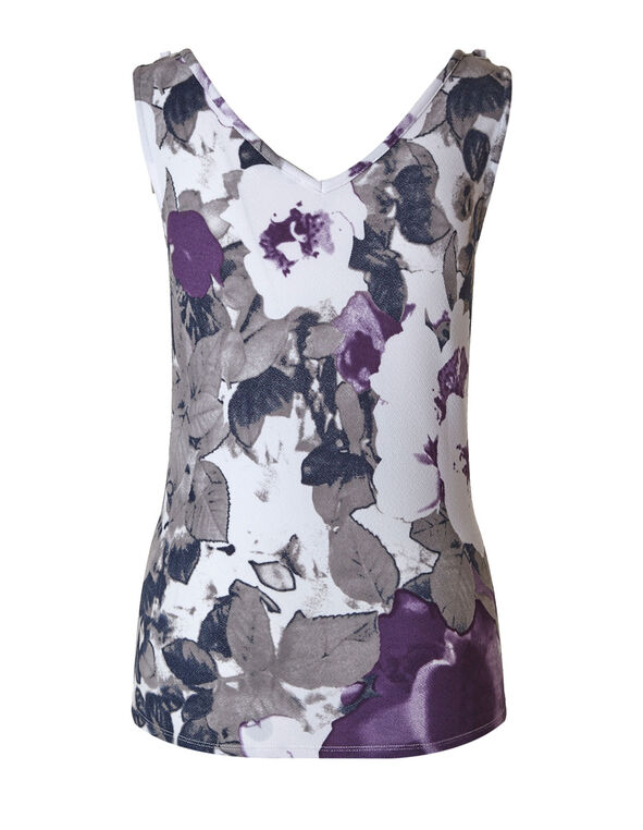 Purple Floral Bubble Crepe Top, Purple/Grey, hi-res