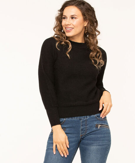 Black Raglan Sleeve Sweater, Black, hi-res
