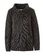 Black Roll Neck Sweater Coat, Black, hi-res