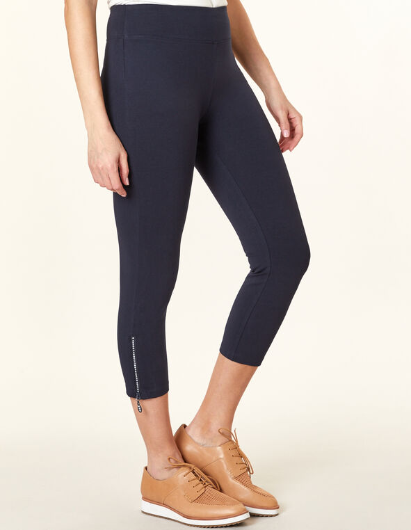 Navy Bling Capri Legging, Navy, hi-res