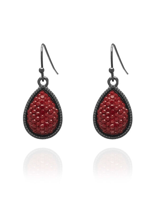 Ruby Caviar Teardrop Earring, Red, hi-res