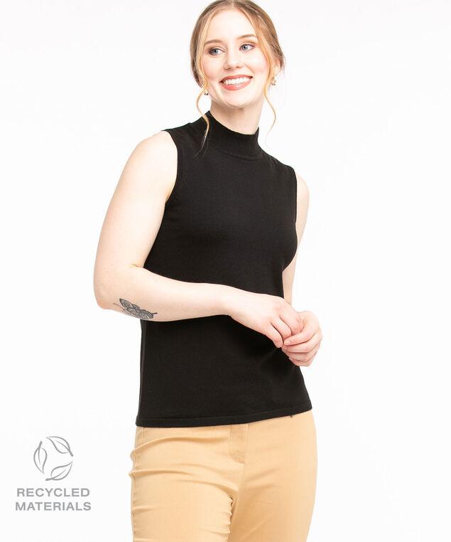 Recycled Mock Neck Sleeveless Sweater, Black